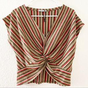 (NWT) Zara | Metallic Stripe Twist Front Top